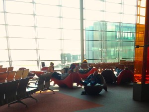 Pod people relaxing in the Paris airport
