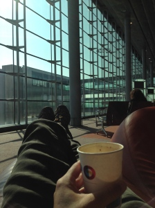 Didn't think I could relax during my 17hr travels but seeing the morning sun while kicking my feet up and drinking illy espresso in the Paris airport did the trick.