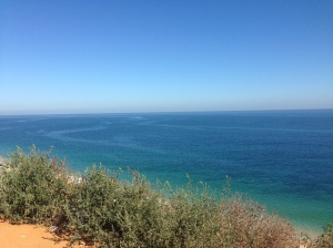 A beautiful view of the sea's blue waters.