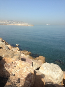 Nothing stopping me from jumping in the Bay and swimming to the fishing pier or to downtown Algiers in the distance.