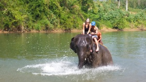 Riding an elephant into the river is amazing!