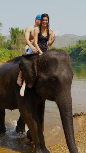 Riding an elephant bare-back is scary but such a thrill! You're very high up and sway a lot with each big step.